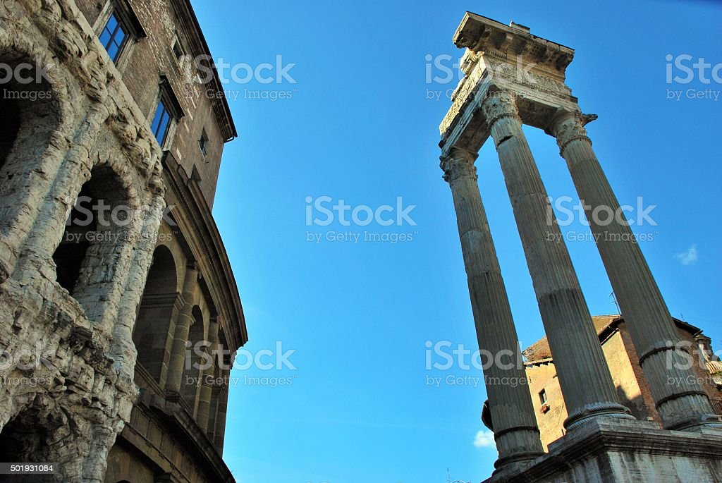 Columns in front of the Theatre stock photo