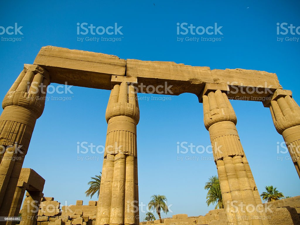 columns in  Karnak temple luxor,Egypt royalty-free stock photo