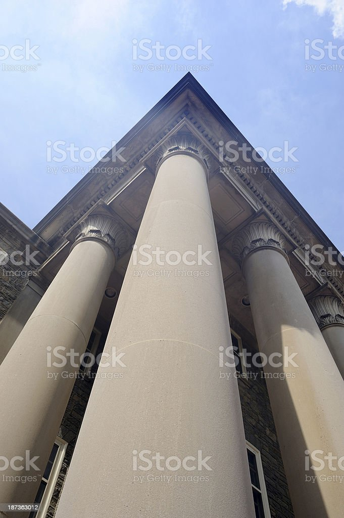 Columns in Old Main Building of Penn State stock photo