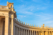 Columns in Saint Peter's Square evening sunset light, Vatican