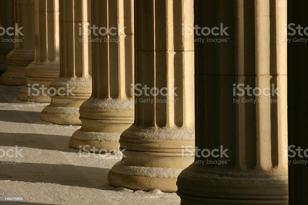 Columns in snow stock photo