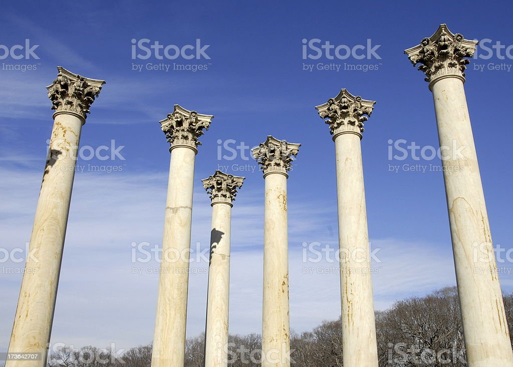 Columns in space stock photo