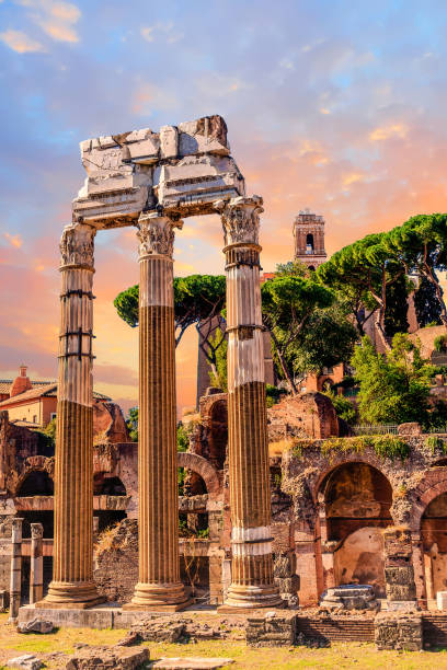 Columns in the Roman Forum View of the ancient ruins in the Roman Forum roman forum stock pictures, royalty-free photos & images