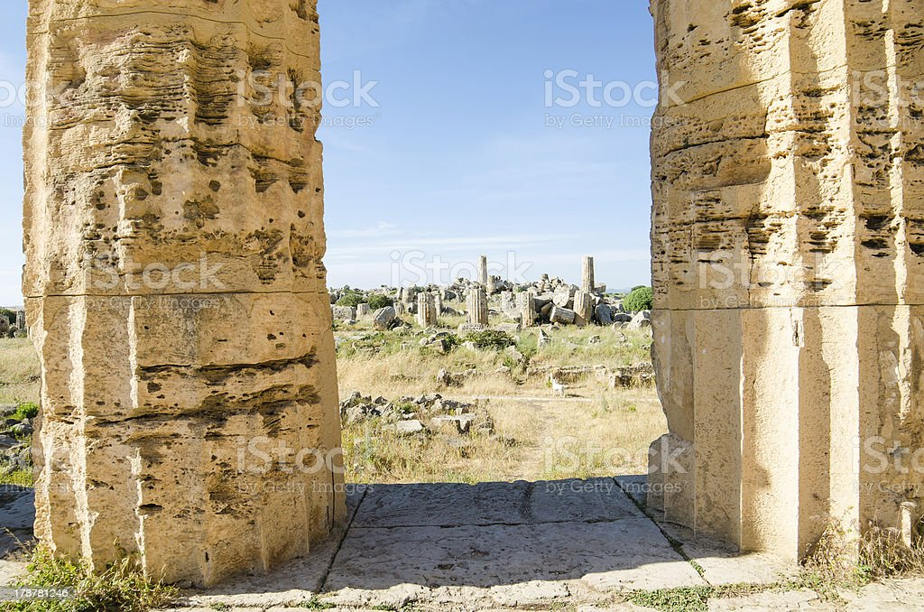 Columns in The Temple of Hera  at Selinunte, Sicily royalty-free stock photo