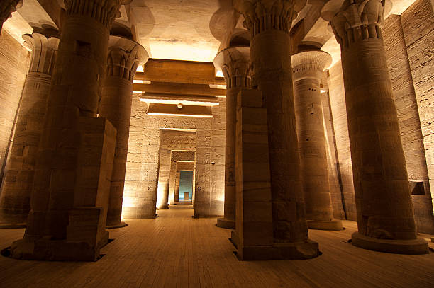 Columns in the Temple of Isis at Philae by Aswan stock photo