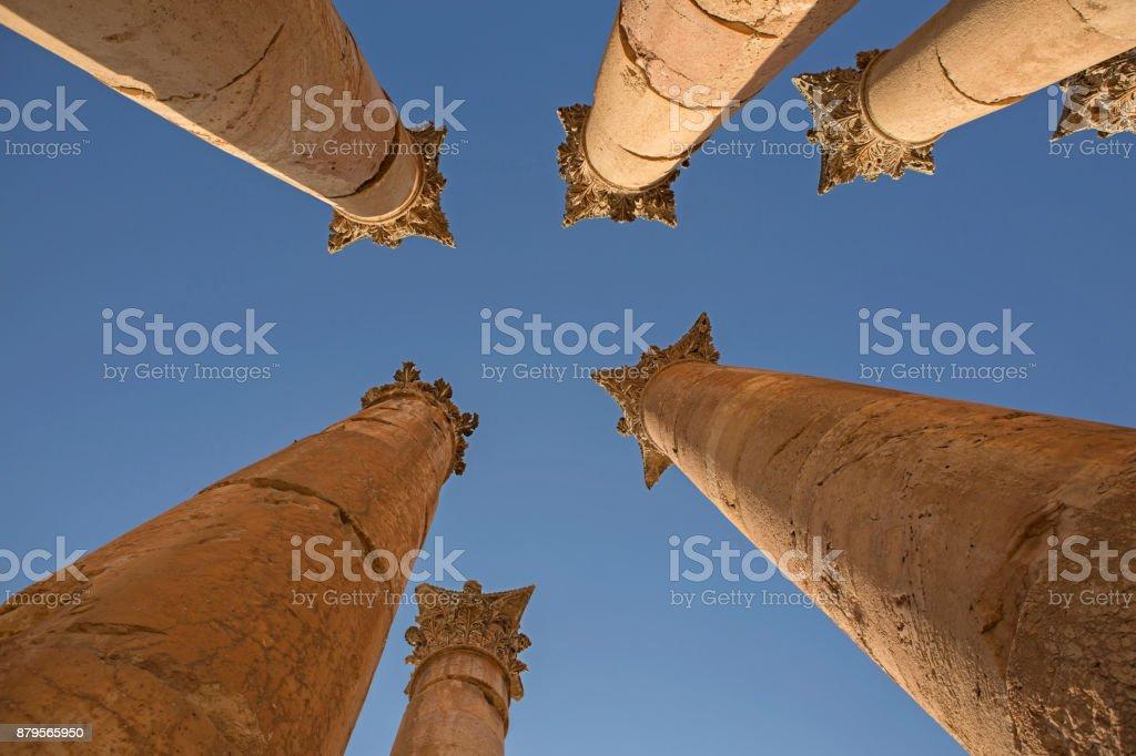 Columns looking up ruins Jordan stock photo