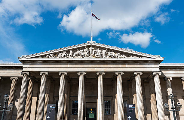 Columns main entrance to the British Museum in London stock photo