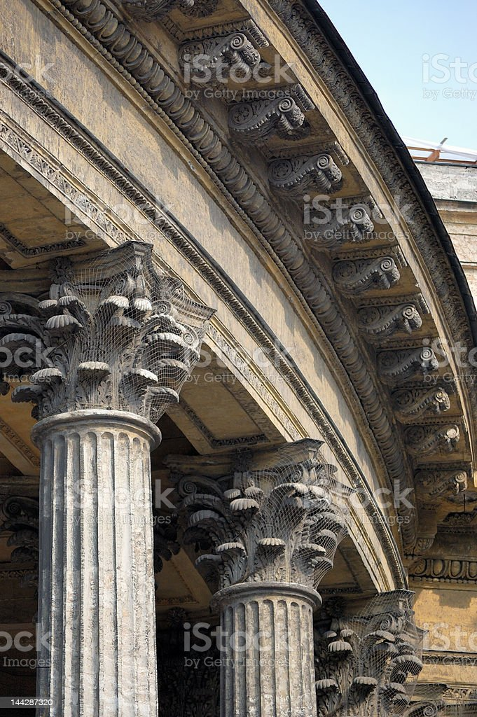 Columns of an old cathedral royalty-free stock photo