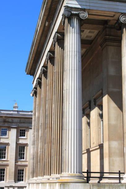 Columns of British Museum in London stock photo