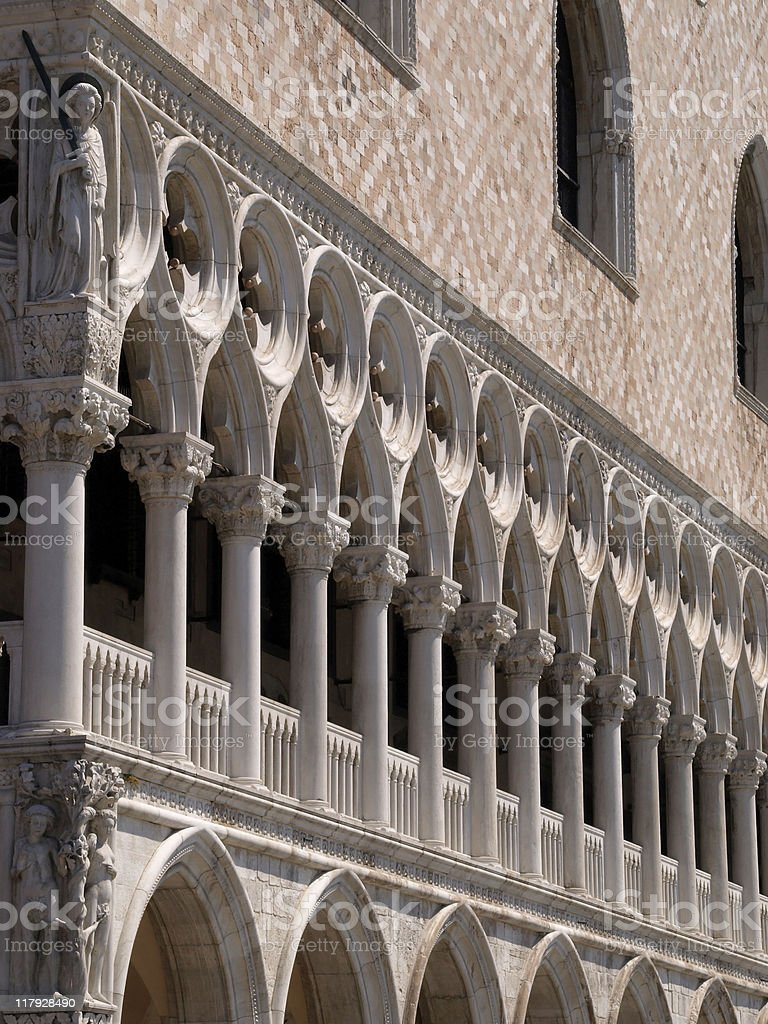 Columns of Doge's Palace in Venice stock photo