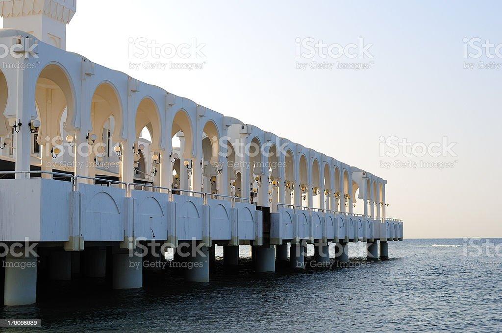 Columns of Floating Mosque, Jeddah, Saudi Arabia stock photo