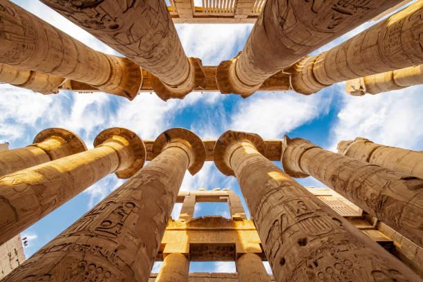 Columns of Karnak Temple in Egypt stock photo