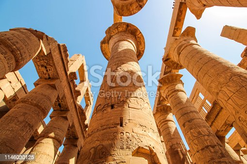 The image of ancient columns in Luxor temple in Luxor, Egypt (ancient Thebes).