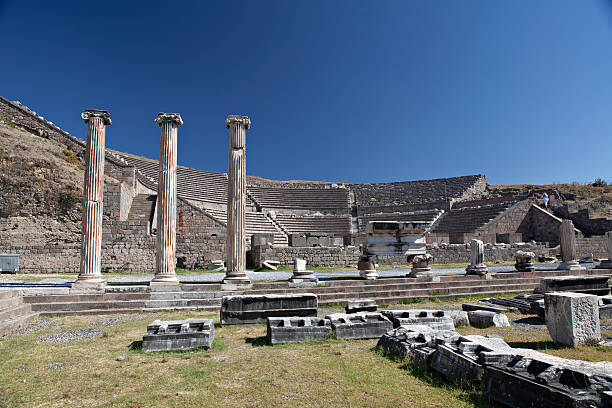 Columns of Pergamon Ruins In Bergama, Turkey stock photo