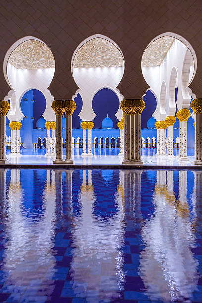 Columns of Sheikh Zayed Grand Mosque in Abu Dhabi, UAE Abu Dhabi, United Arab Emirates - March 27, 2014: Columns of Sheikh Zayed Grand Mosque in Abu Dhabi, capital city of United Arab Emirates. grand mosque stock pictures, royalty-free photos & images