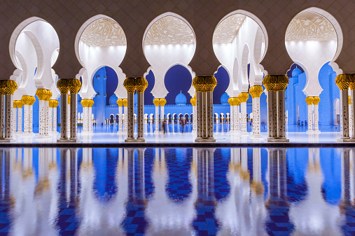 istock Columns of Sheikh Zayed Grand Mosque in Abu Dhabi, UAE 516913655