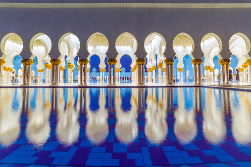 istock Columns of Sheikh Zayed Grand Mosque in Abu Dhabi, UAE 516913659