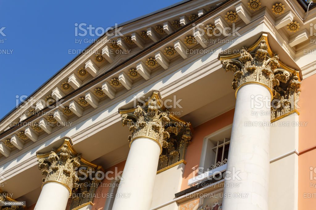 Columns of the Church of St. Barbara the great Martyr on Varvarka street in Moscow stock photo