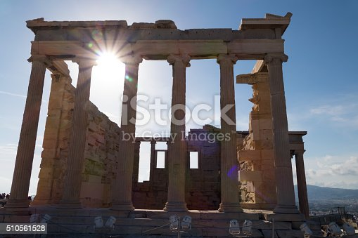 Backside columns of the Erechtheion temple, Acropolis, Athens, Greece.