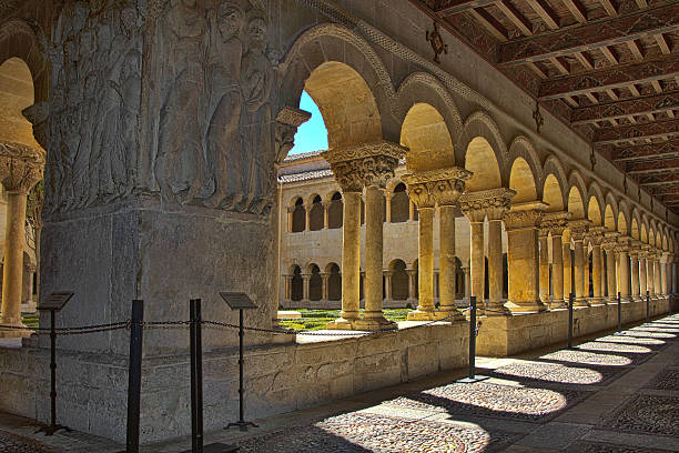 columns of the famous Monastery Silos in Spain Details of the columns of the famous Monastery of Silos in Spain abbey monastery stock pictures, royalty-free photos & images