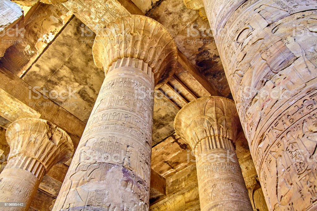 columns of the hypostyle hall of Karnak's temple in Luxor, Egypt stock photo
