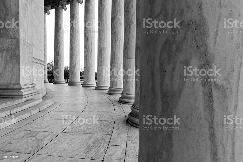 Columns of the Jefferson memorial stock photo