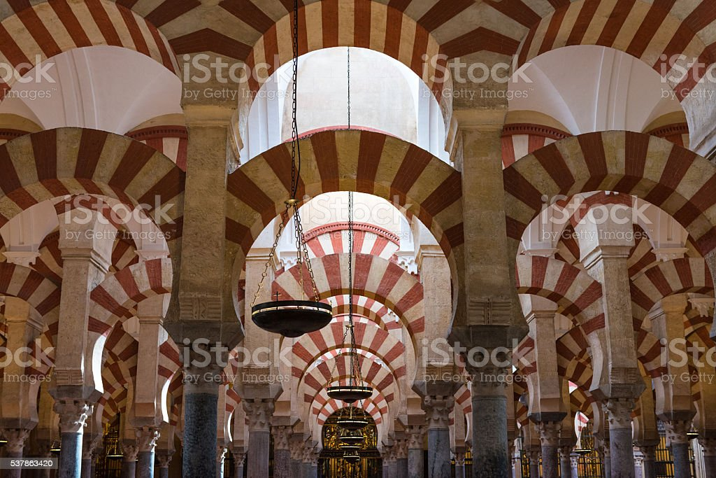 Columns of the Mosque Cathedral of Cordoba stock photo