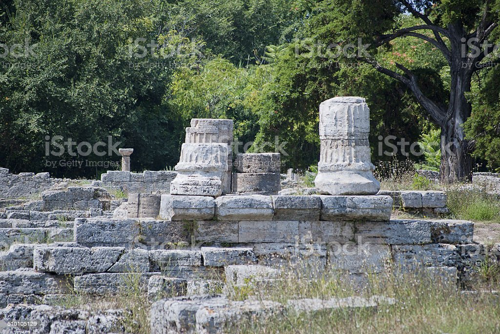 Columns of the ruins Paestum stock photo