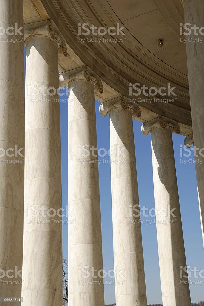 Columns on Jefferson Memorial Washington DC royalty-free stock photo