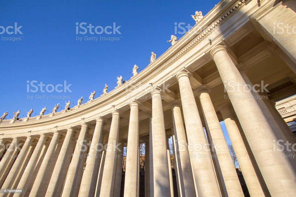 Columns on the St. Peter's Square, Vatican City, Italy stock photo