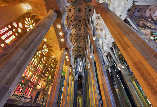 Columns, stained glass and ceiling in Sagrada Familia, Barcelona