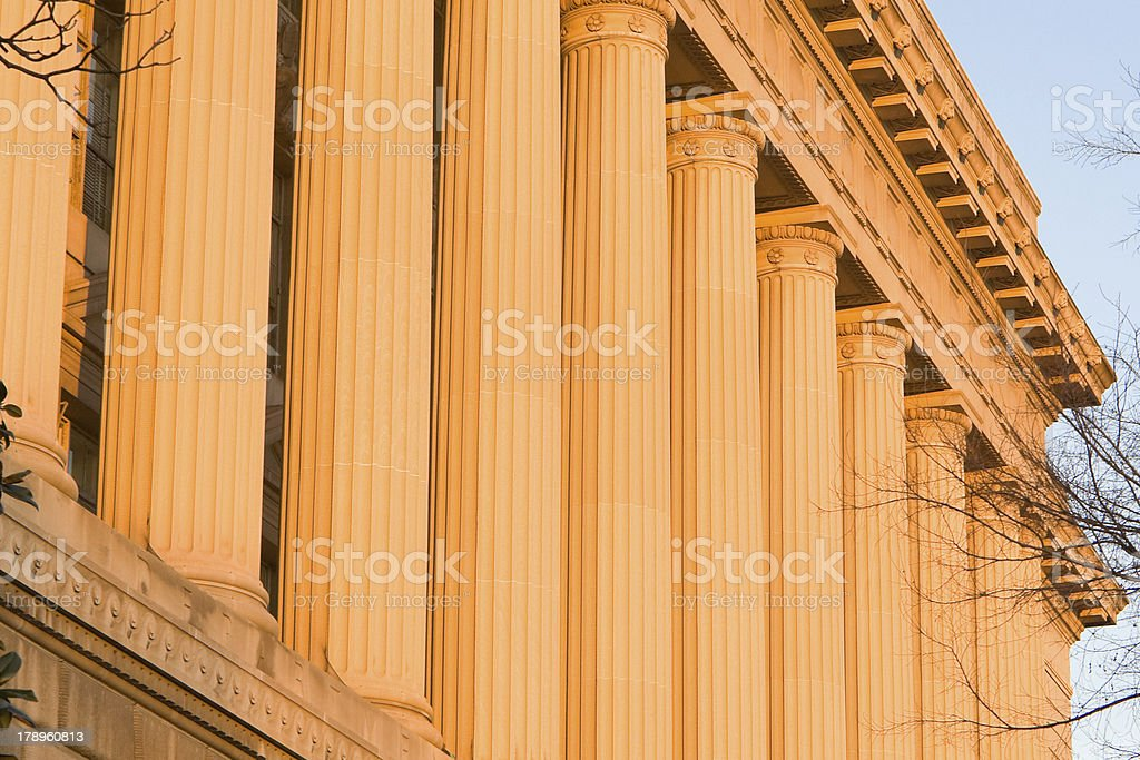 Columns US Department of Commerce in Washington, DC, Sunset Colors stock photo