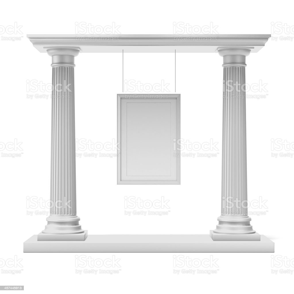 Columns with white frame stock photo