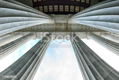 Photo of a building with columns and staircase. This picture was taken at Lincoln Memorial, Washington DC.