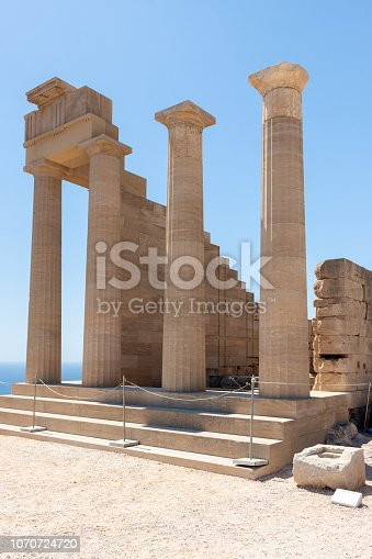 ruins of a temple at the Acropolis of Lindos as one of the most important Landmarks in Rhodes