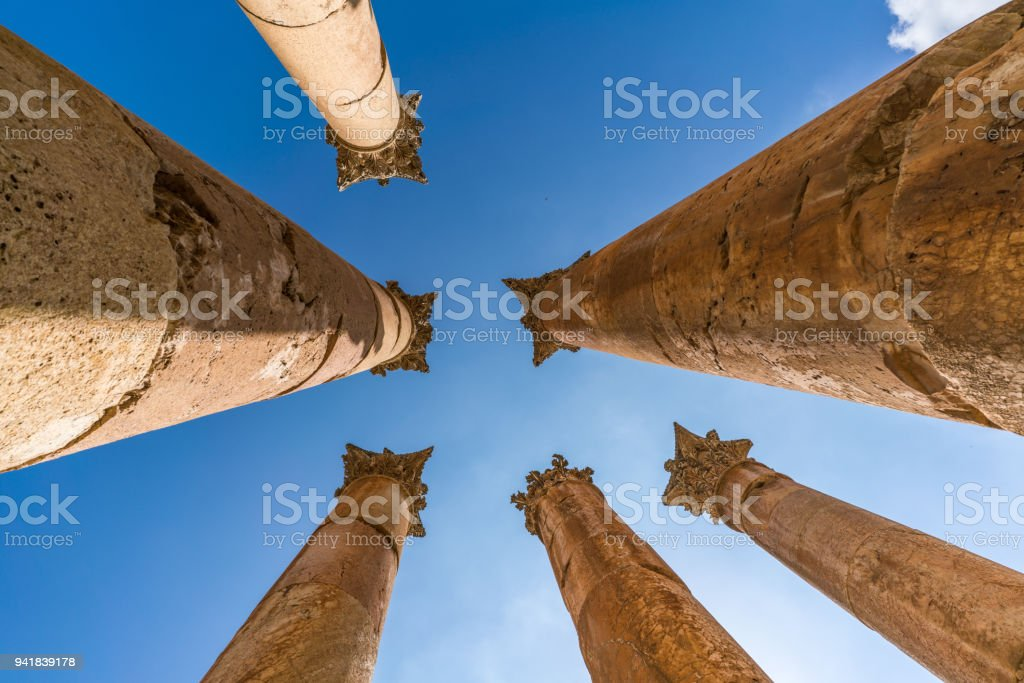 Colums bottom up view from Jerash stock photo