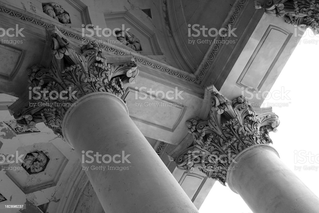 colums of the london stock exchange stock photo