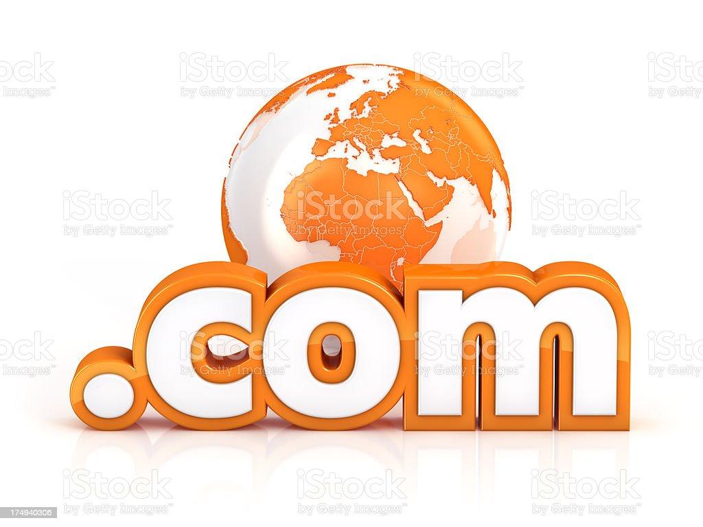 com domain with globe royalty-free stock photo