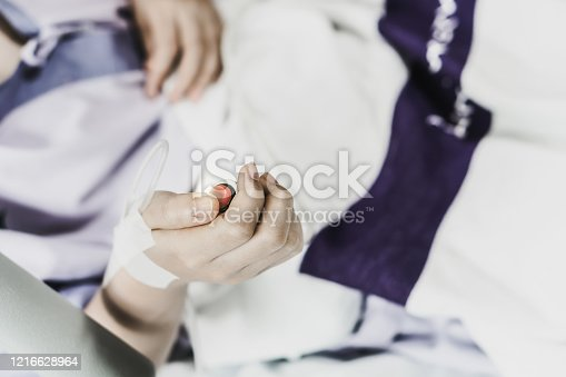 910488902 istock photo Coma patient on hopital bed take care by doctor nurse due to serious infection diagnosed cancer, coronavirus, thalassemia, aids. Need health technology treatment to recover and survive virus crisis 1216628964