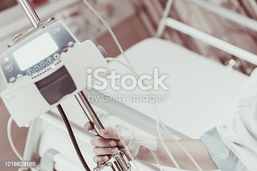 910488902 istock photo Coma patient on hopital bed take care by doctor nurse due to serious infection diagnosed cancer, coronavirus, thalassemia, aids. Need health technology treatment to recover and survive virus crisis 1216629165