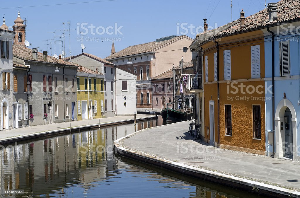 Comacchio (Ferrara) - Canal and colorful houses royalty-free stock photo