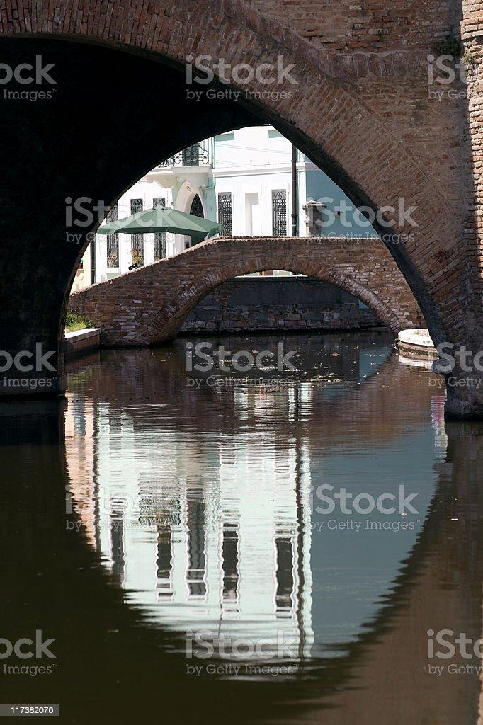 Comacchio (Ferrara, Emilia-Romagna) - Famous bridge known as Trepponti stock photo