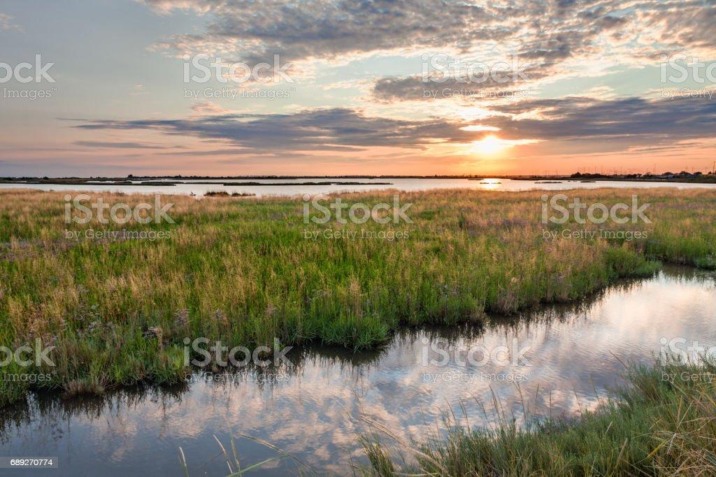 Comacchio, Ferrara, Italy: landscape at sunset of the swamp stock photo
