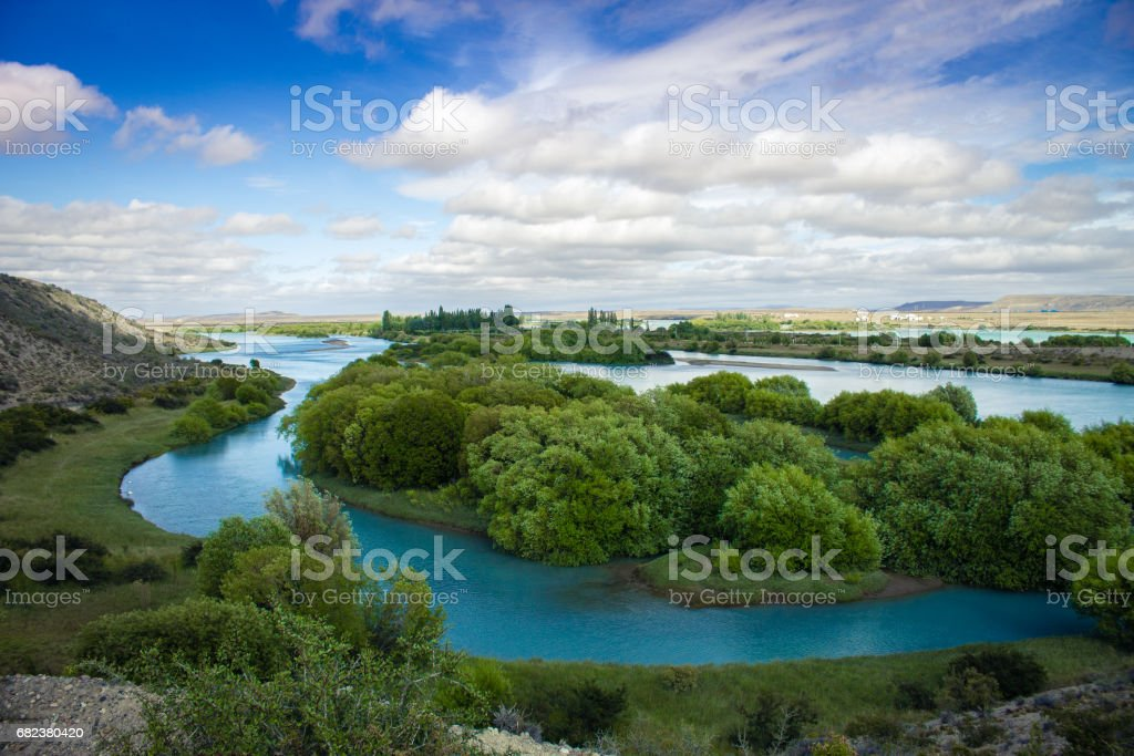 Comandante Luis Piedrabuena, Argentina, South America - Beautiful summer landscape of Patagonia found by roadside. foto stock royalty-free