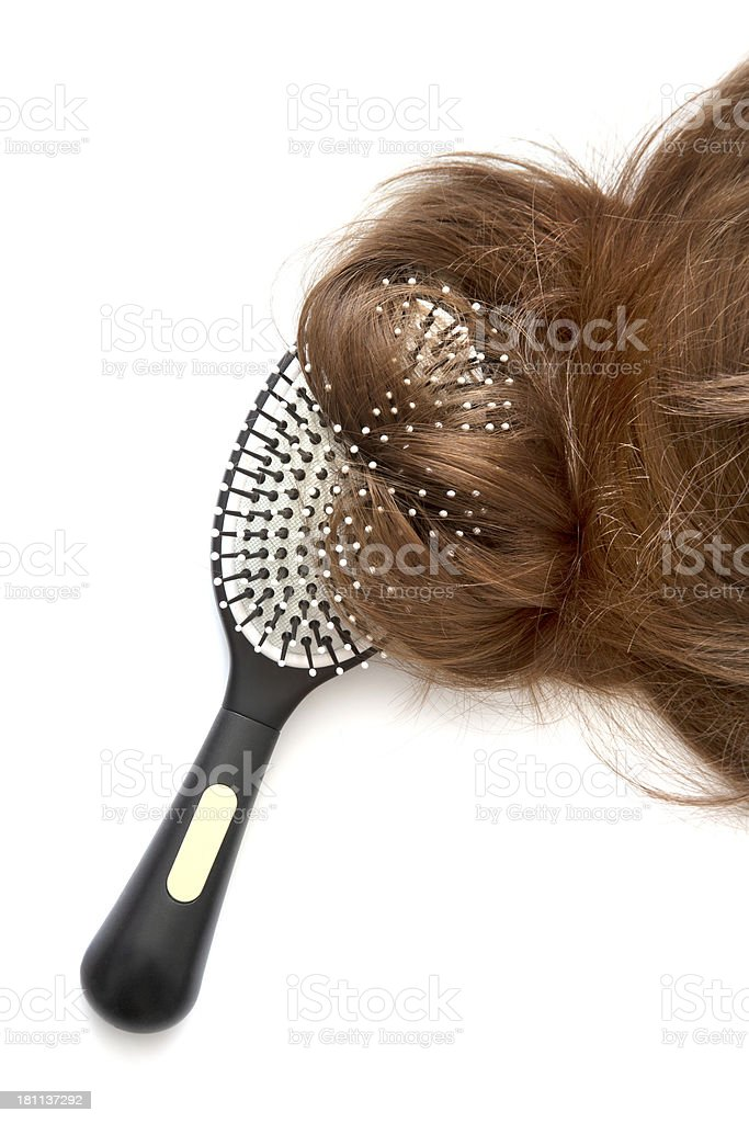 Comb brush with hair royalty-free stock photo