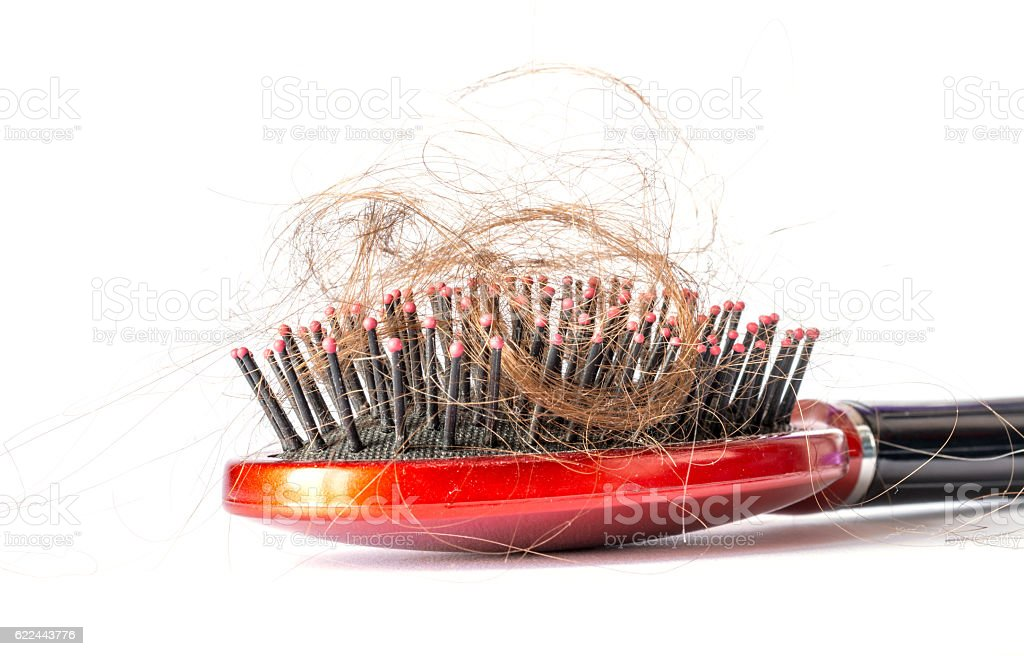 Comb hair with tufts on a white background stock photo