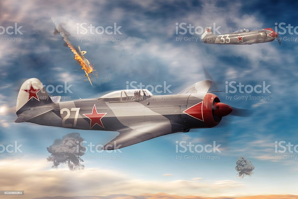Combat aircraft in the sky stock photo