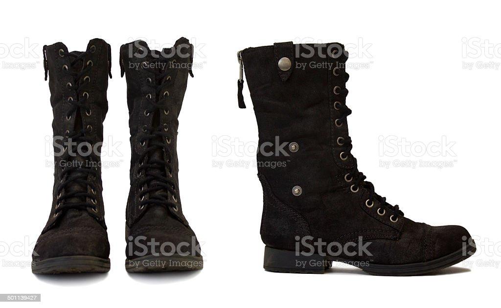 Combat black boots on white background stock photo