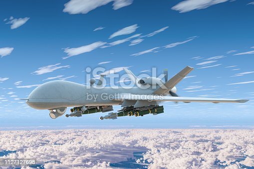 istock Combat drone fly in the blue sky above the clouds. 3D rendering 1127127698