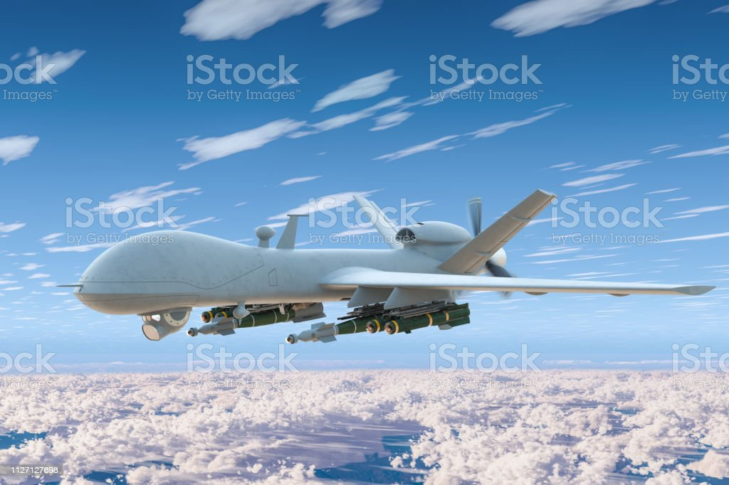 Combat drone fly in the blue sky above the clouds. 3D rendering stock photo